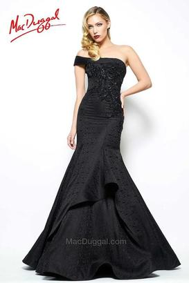 Mac Duggal Evening Gowns - 48522 One Shoulder Gown In Black $698 thestylecure.com