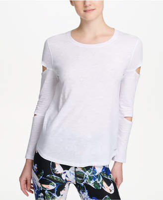 DKNY Sport Cotton Long Cut-Out Sleeve T-Shirt