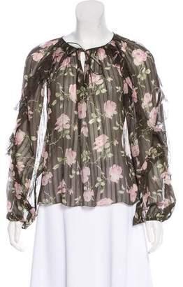 Ulla Johnson Silk Floral Print Top