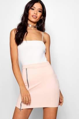 boohoo Holly Zip Front Micro Mini Skirt
