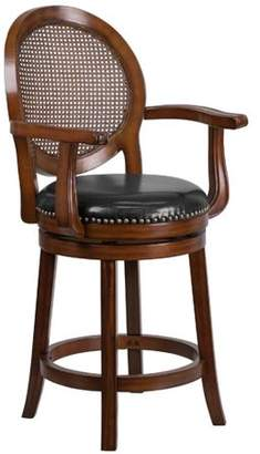 Generic Flash Furniture 26'' High Expresso Wood Counter Height Stool with Arms and Black Leather Swivel Seat