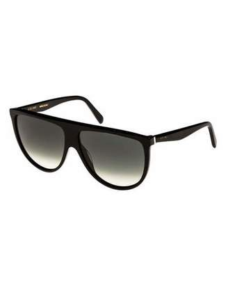 Celine Flattop Gradient Shield International-Fit Sunglasses, Black