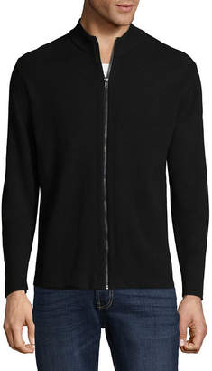 Claiborne Full Zip Bomber Mens Mock Neck Long Sleeve Layered Sweaters