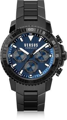 Versace Versus Aberdeen Black Stainless Steel Men's Chronograph Watch w/Blue Dial