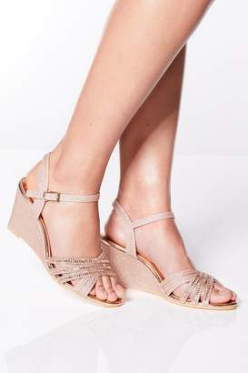 fff8c9679d Quiz Rose Gold Diamante Wedge Sandals