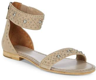 Frye Women's Carson Deco Zip Leather Ankle-Strap Sandals