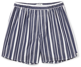 Sleepy Jones Victor Striped Cotton Boxer Shorts $45 thestylecure.com
