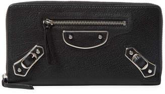 Balenciaga Classic Silver Metallic Edge Leather Zip Around Wallet