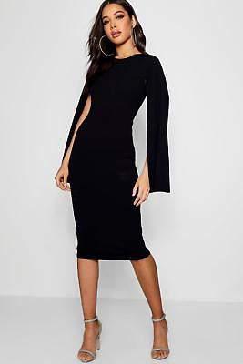 boohoo NEW Womens Cape Sleeve Bodycon Midi Dress in Polyester