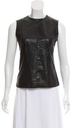 Vince Leather Crew Neck Top