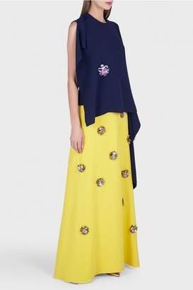 DELPOZO Brooch Embroidered Maxi Skirt