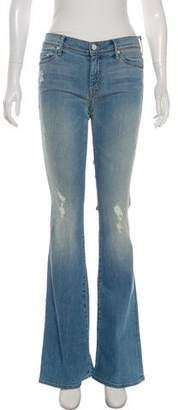 Mother Distressed Mid-Rise Wide-Leg Jeans