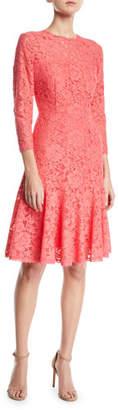 Escada Long-Sleeve Tieback Lace Dress w/ Flounce Hem