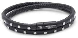 Tateossian Studded Double-Wrap Leather Bracelet