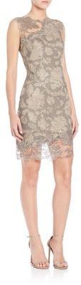 Tadashi Shoji Illusion Neck Lace Short Dress $408 thestylecure.com