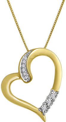 JCPenney FINE JEWELRY Diamond-Accent 10K Yellow Gold Tilted Openwork Heart Pendant