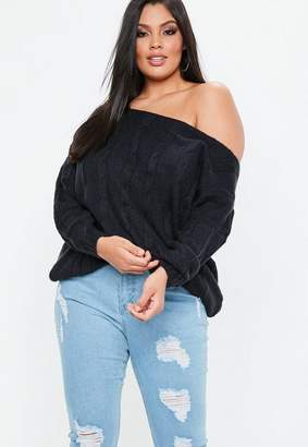 Missguided Curve Navy Off The Shoulder Cable Knit Sweater