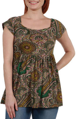 24/7 Comfort Apparel 24Seven Comfort Apparel Marlowe Green Paisley Short Sleeve Tunic Top - Plus