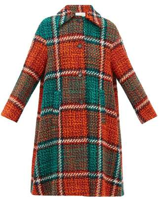 La DoubleJ Single Breasted Checked Wool Blend Tweed Coat - Womens - Red Print