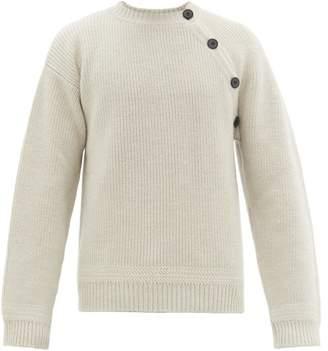 Lanvin Asymmetric Buttoned Wool Sweater - Mens - White