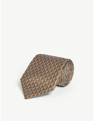 ZILLI Geometric print silk satin tie