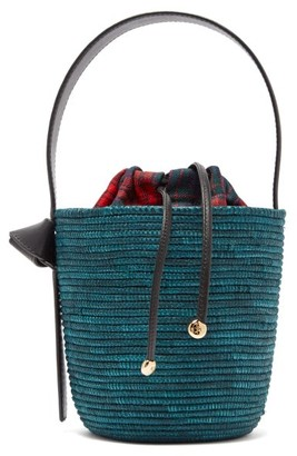 Cesta Collective - Leather Handle Sisal Basket Bag - Womens - Green Multi