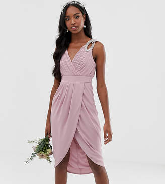 TFNC Tall Tall bridesmaid exclusive wrap midi dress in pink