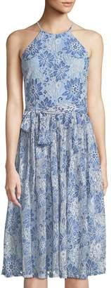 Neiman Marcus Floral-Lace Bow-Waist Halter Dress