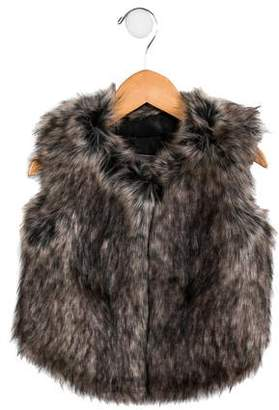 Vince Girls' Faux Fur Scoop Neck Vest w/ Tags