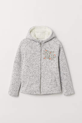 H&M Pile-lined Hooded Jacket - Gray