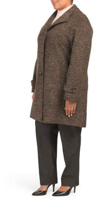 Plus Wool Tweed Coat With Fold Down Collar