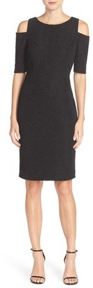 Women's Eliza J Cold Shoulder Sparkle Knit Sheath Dress $148 thestylecure.com