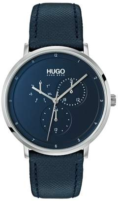 HUGO Ultra Slim Leather Strap Watch, 40mm