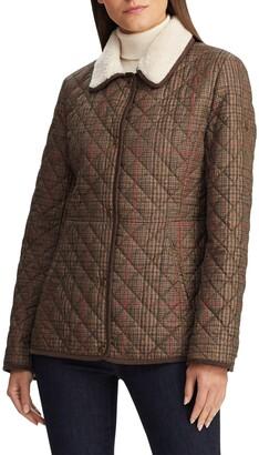 Lauren Ralph Lauren Faux Shearling Collar Quilted Jacket