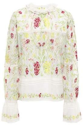 Antik Batik Fanya Embroidered Cotton-gauze And Point D'espirit Blouse