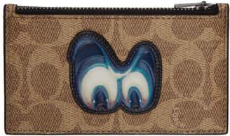 Coach 1941 Khaki Disney Edition Patch Signature Zip Card Holder