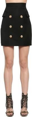 Balmain Wool Twill Skirt W/ Gold Buttons