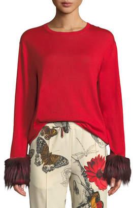 Moncler Crewneck Pullover Sweater w/ Fur Cuffs
