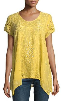 Johnny Was Wicktoria Georgette Eyelet Top, Soft Citron $245 thestylecure.com