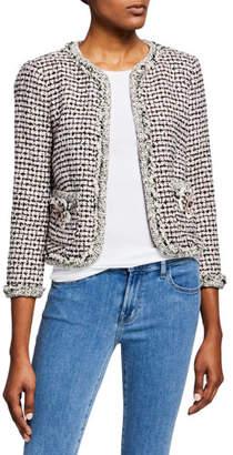 Rebecca Taylor Houndstooth Tweed 3/4-Sleeve Jacket