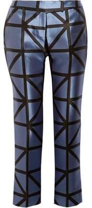Milly Cropped Satin-Jacquard Slim-Leg Pants