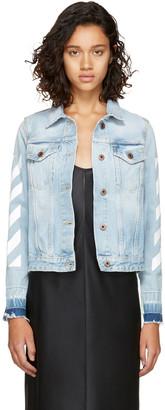 Off-White Blue Denim Diagonal Jacket $630 thestylecure.com