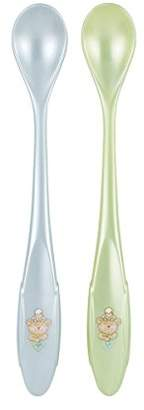 Rotho Babydesign Best Friends Long Handled Spoons (Baby Blue Pearl/Mint Green Pearl, Pack of 2)
