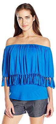NY Collection Women's Top With Fringe Poncho