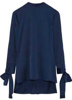 Iris & Ink Demi Bow-Detailed Hammered Satin Blouse