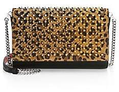 Christian Louboutin Women's Paloma Studded Leopard-Print Leather Clutch
