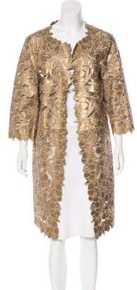 Couture St. John Laser Cut Leather Coat w/ Tags