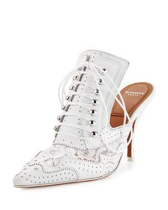 Givenchy Maremma Leather & Lace 90mm Mule, White $995 thestylecure.com