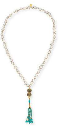 Devon Leigh Turquoise Beaded Tassel Necklace