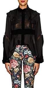 Sacai Women's Velvet- & Georgette-Trimmed Washed Satin Blouse-Black